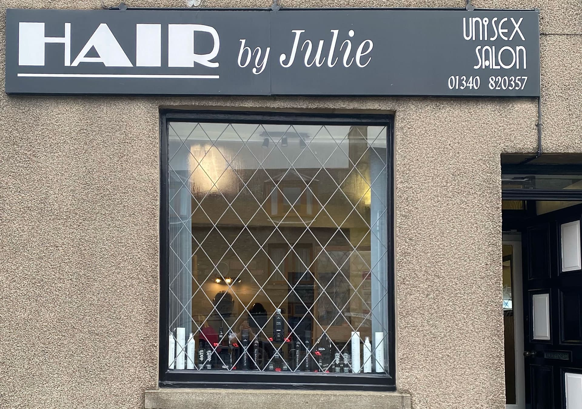 The outside of Hair by Julie, the longest established hairdressers in Dufftown, Moray